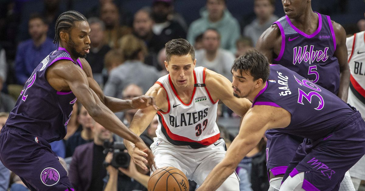New Look Wolves Chew Up Blazers, 112-96. Minnesota Timberwolves logo