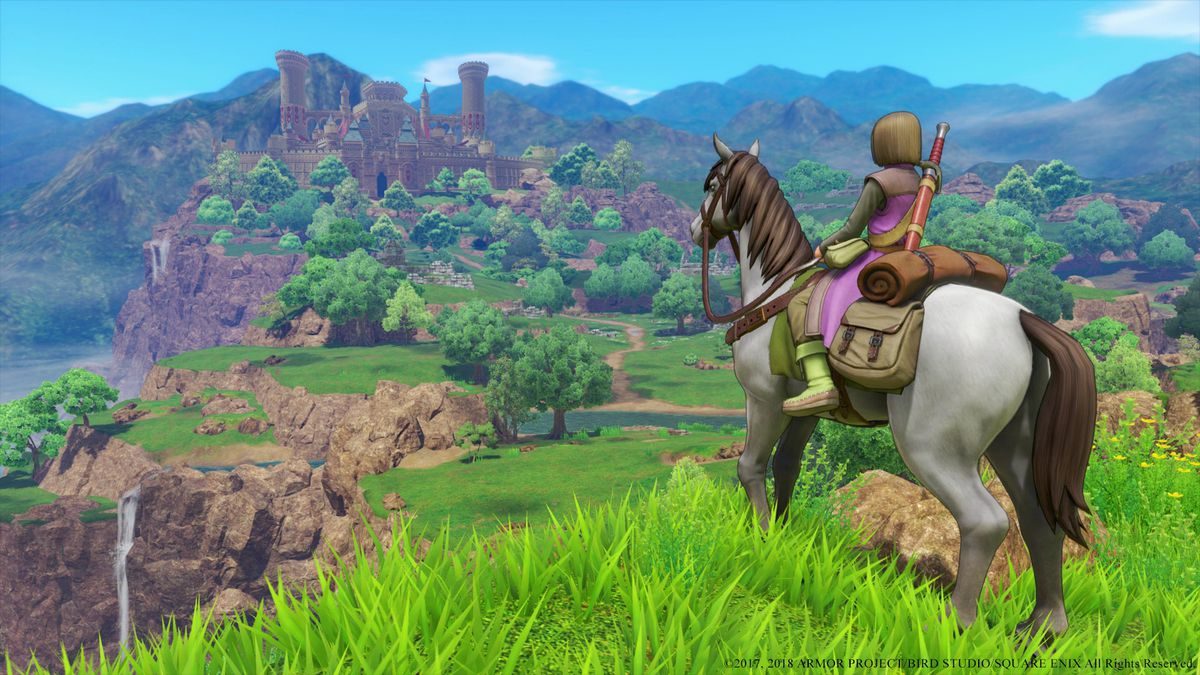 Dragon Quest 11 - rider on horseback looking toward ruins