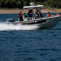 Weber Fire District and Weber County Sheriff's Department personnel train together on water rescue skills at Pineview Reservoir near Huntsville, Weber County, on Monday, June 28, 2021.