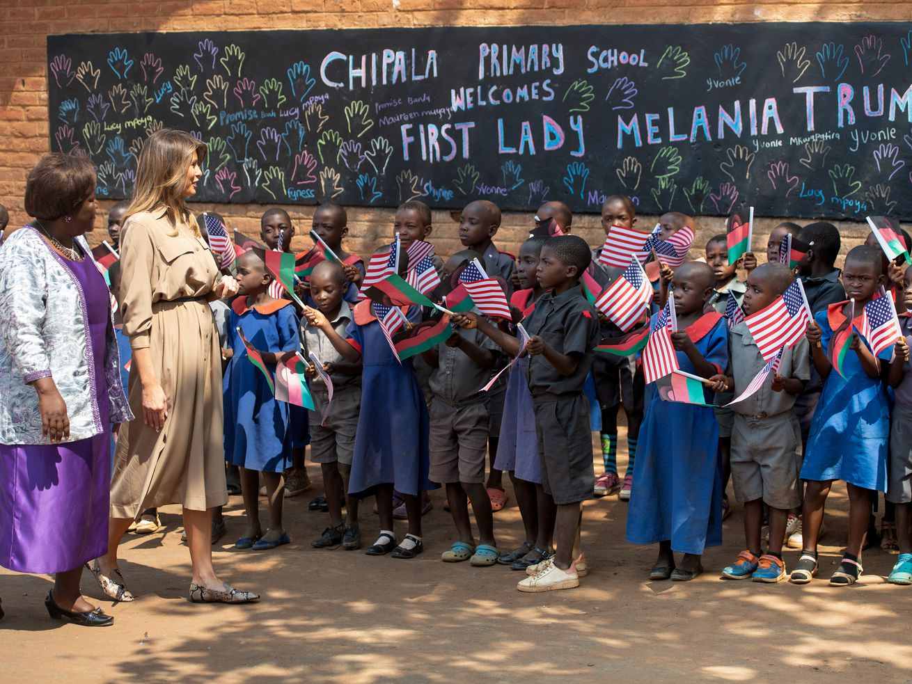 US first lady Melania Trump visits Chipala Primary School in Malawi on October 4, 2018. The school is among many in Malawi that receive funding from USAID for literacy programs.