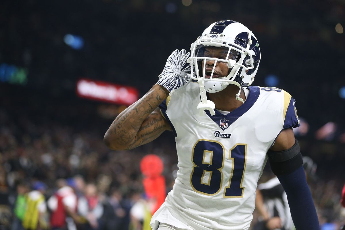 Los Angeles Rams tight end Gerald Everett reacts after a Rams touchdown against the New Orleans Saints during the third quarter of the NFC Championship game at Mercedes-Benz Superdome.