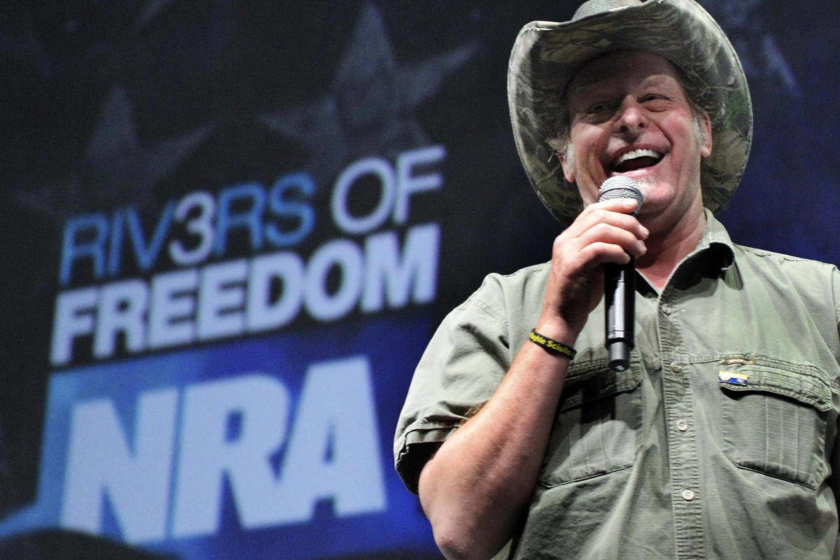 FILE - In this May 1, 2011 file photo, musician and gun rights activist Ted Nugent addresses a seminar at the National Rifle Association's convention in Pittsburgh. Nugent says he will meet with the Secret Service on Thursday to explain his raucous remark