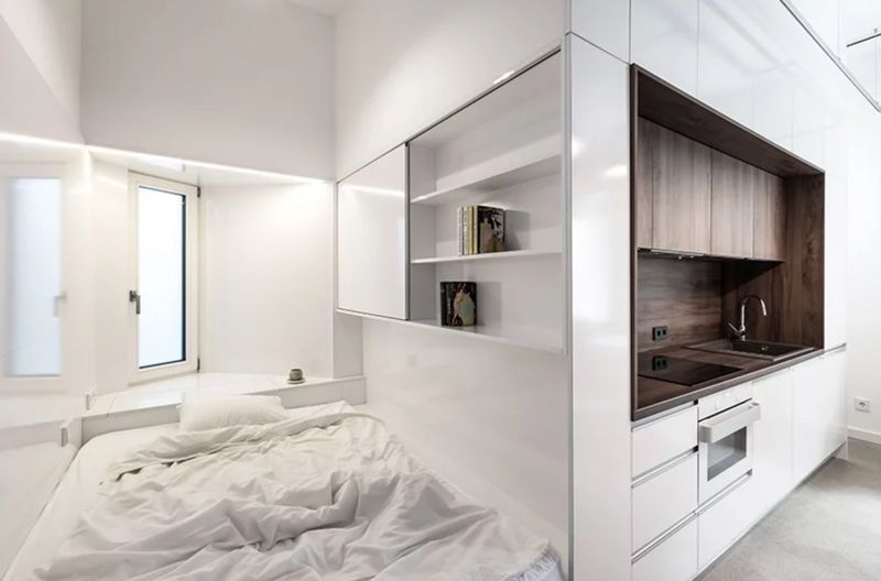 Micro kitchen and bedroom nook