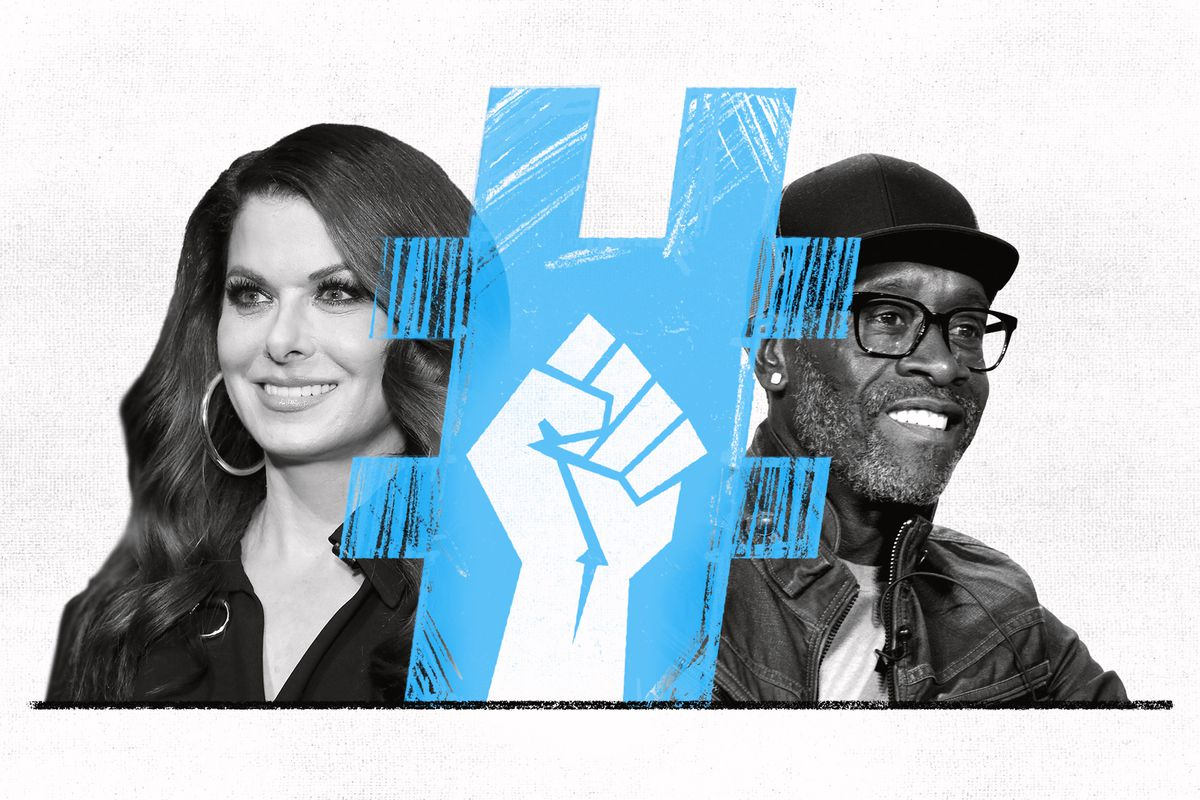 A collage featuring Don Cheadle, Debra Messing, a fist, and a hashtag symbol.