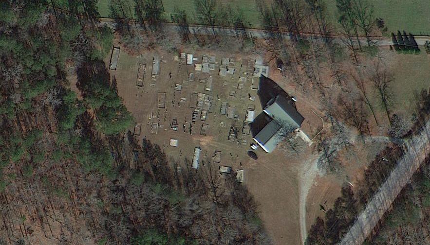 An aerial view of a church.