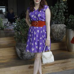 """Rebecca Gunthrie of <a href=""""http://www.thirtyfiveinchinseam.com/"""">35-Inch Inseam</a> is ladylike and purply on day two."""