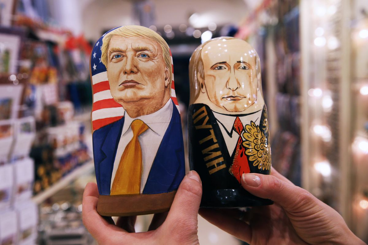 Russian dolls with images of Trump and Putin