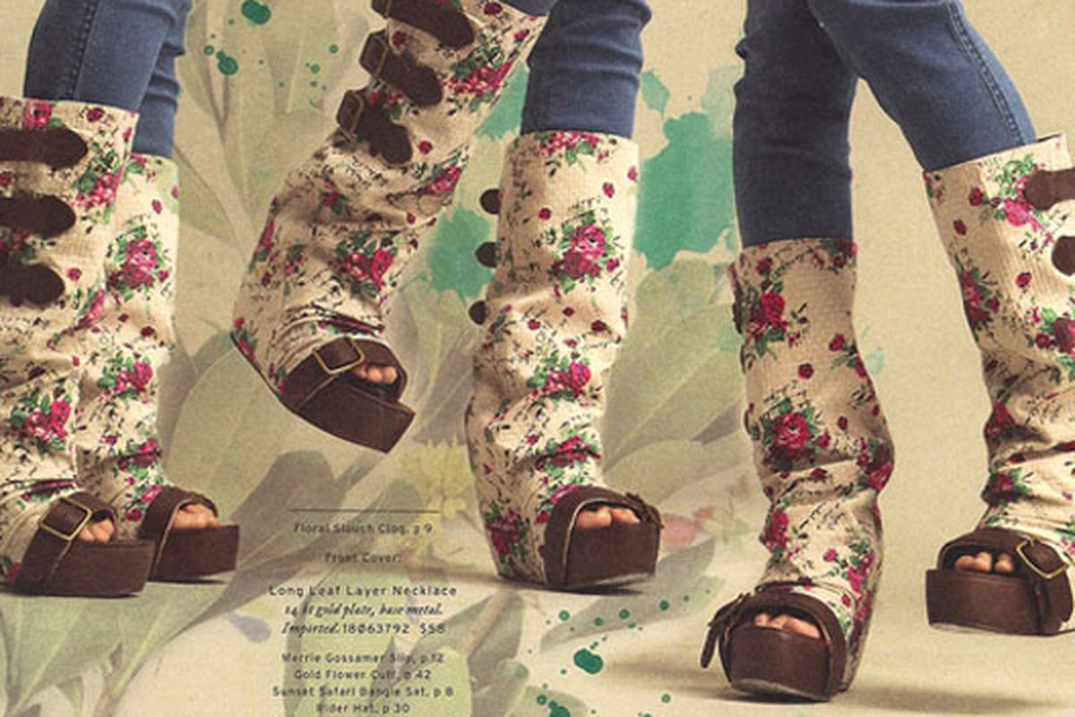 Yeah, we got the Free People catalog yesterday, too, and we've never seen such vomit-inducing shoes in all our lives. Image via Jezebel.