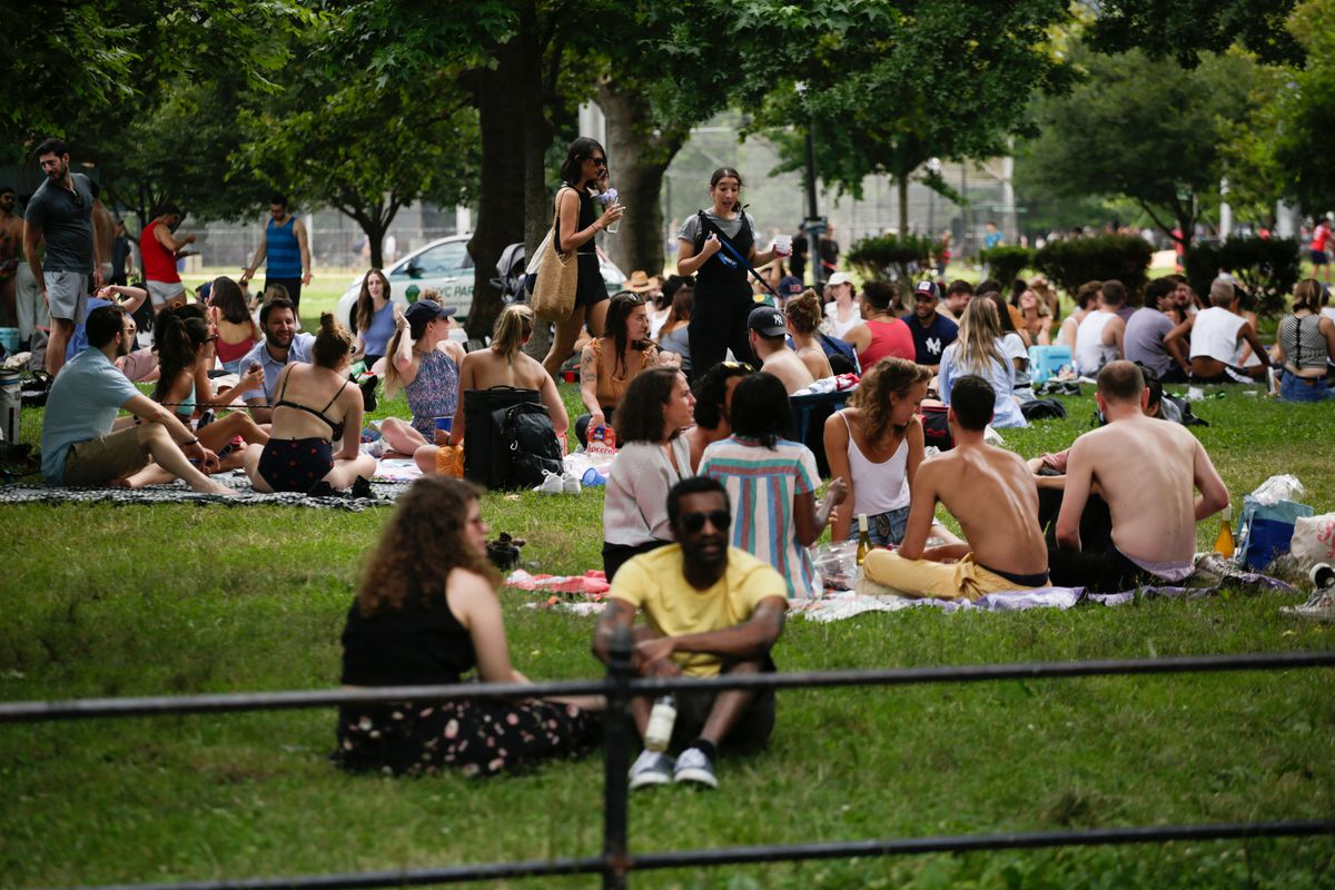 A park lawn thronged with people sitting and standing.
