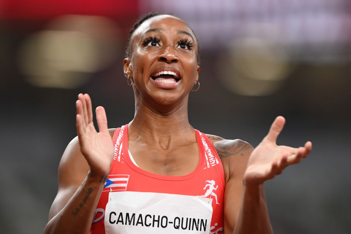 Jasmine Camacho-Quinn of Team Puerto Rico reacts after winning her Women's 100m Hurdles Semi-Final on day nine of the Tokyo 2020 Olympic Games at Olympic Stadium on August 01, 2021 in Tokyo, Japan.