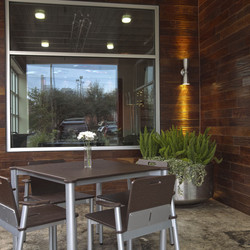 Outdoor patio at Weights + Measures