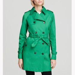 """<b>Calvin Klein</b> Belted Trench in green, <a href=""""http://www1.bloomingdales.com/shop/product/calvin-klein-belted-trench?ID=686797&PseudoCat=se-xx-xx-xx.esn_results"""">$124</a> (was $178) at Bloomingdale's"""