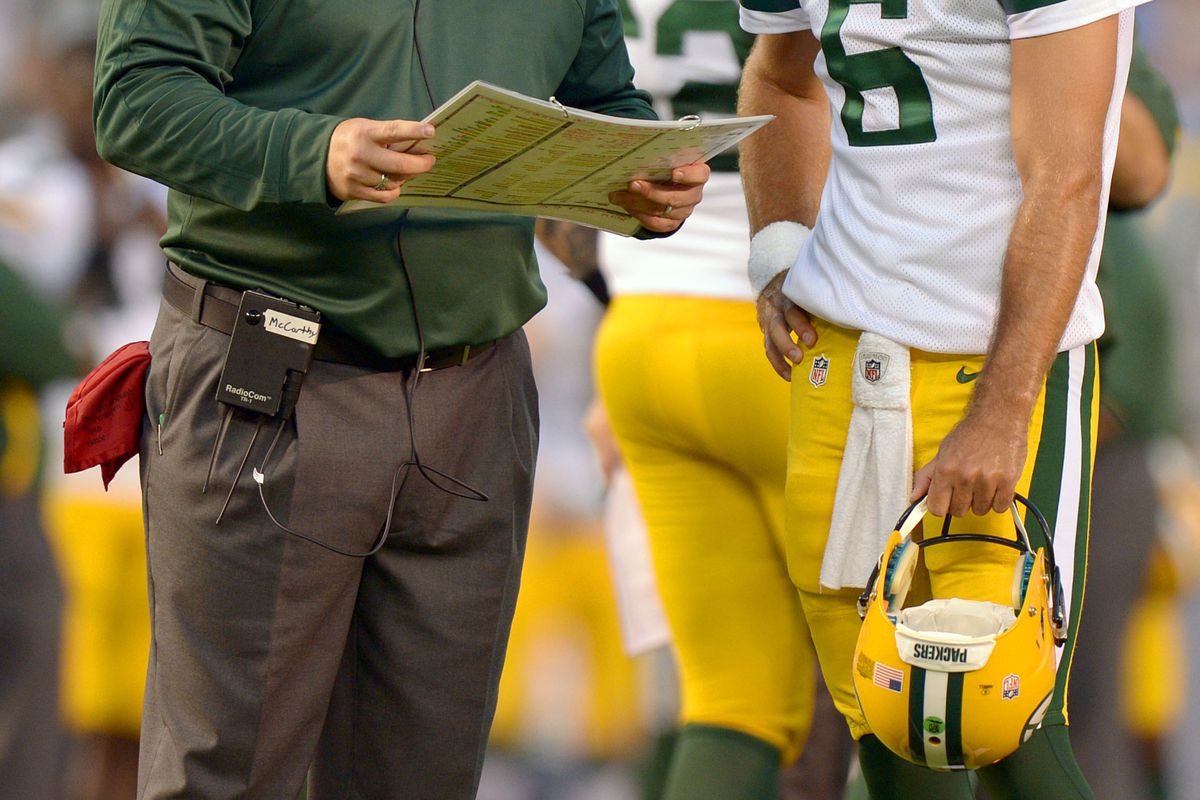 Aug 9, 2012; San Diego, CA, USA; Green Bay Packers quarterback Graham Harrell (6) talks with head coach Mike McCarthy during the third quarter against the San Diego Chargers at Qualcomm Stadium. Mandatory Credit: Jake Roth-US PRESSWIRE