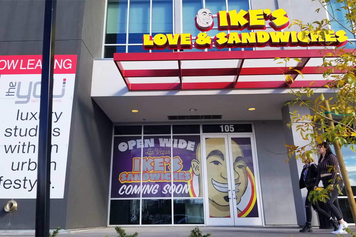 The exterior of the second local expansion of Ike's Love & Sandwiches, opening soon near UNLV.