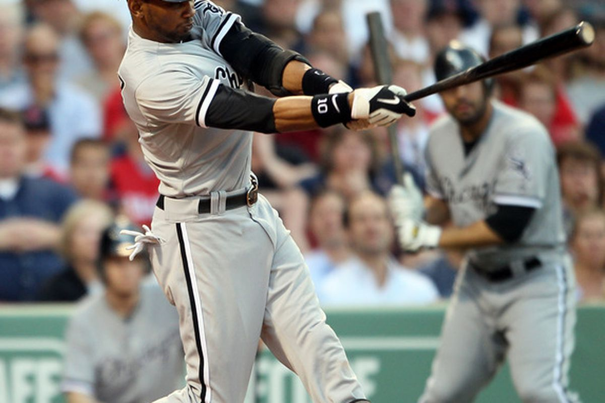 Alexei Ramirez picks up Juan Pierre with a two-run single in the second inning.