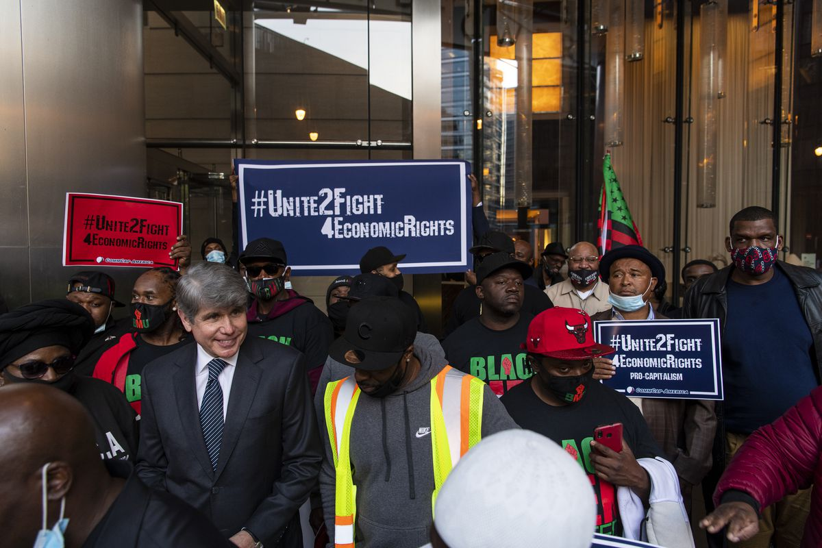 Former Gov. Rod Blagojevich attends an event at Trump Tower hosted by a controversial Black surrogate to President Donald Trump on Thursday, Oct. 22, 2020. | Tyler LaRiviere/Sun-Times