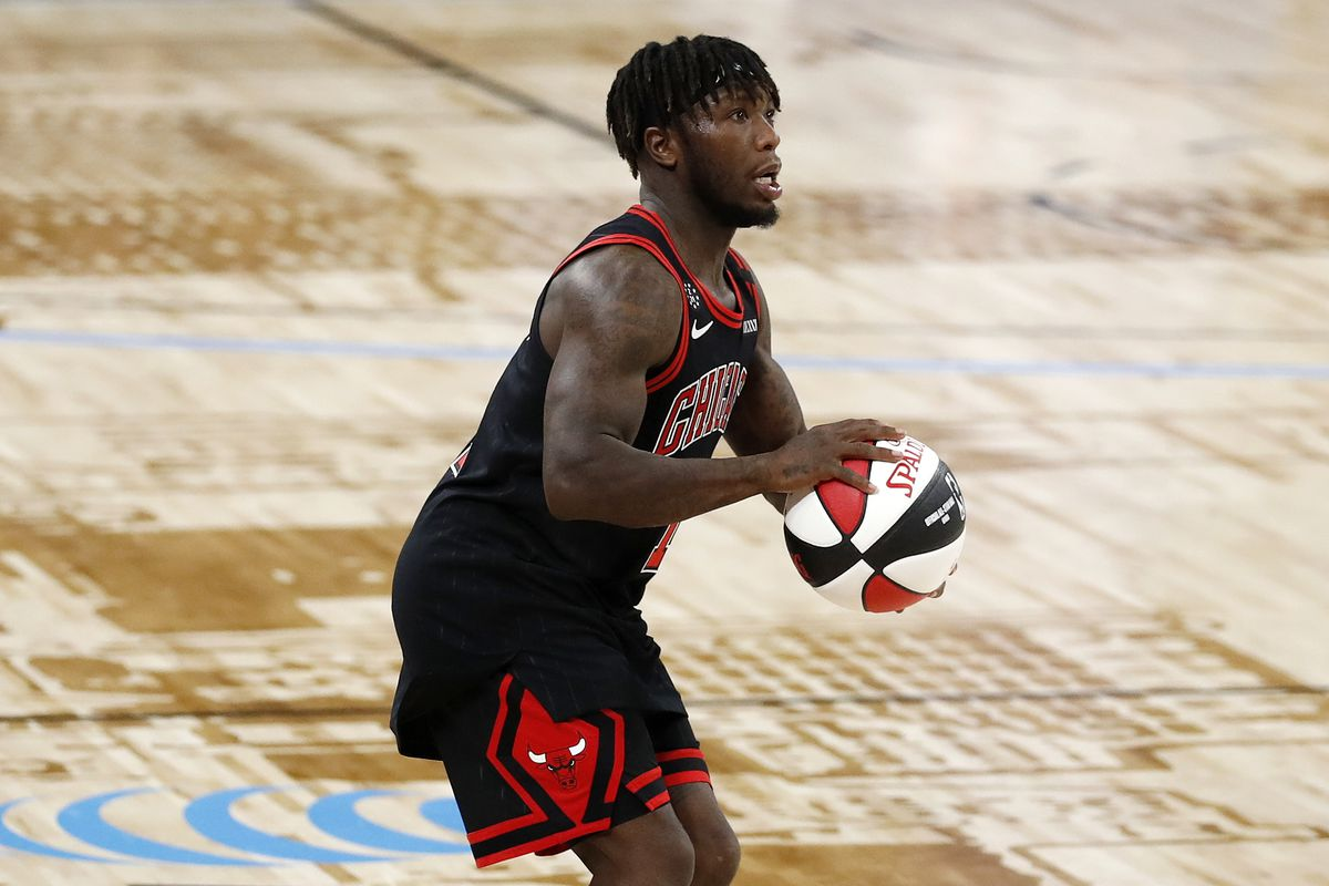 NBA Legend Nate Robinson handles the ball during the NBA All-Star Celebrity Game presented by Ruffles on Friday, February 14, 2020 at the WinTrust Arena in Chicago, Illinois.