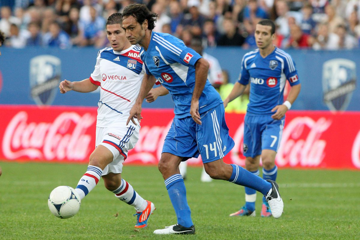 MONTREAL, CANADA - JULY 24:  Can Alessandro Nesta #14 fix all of the Impact's defensive issues by himself?   (Photo by Richard Wolowicz/Getty Images)
