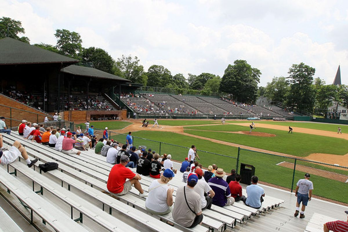 COOPERSTOWN NY - JULY 24:  Baseball fans watch a game at Doubleday Field during induction weekend on July 24 2010 in Cooperstown New York.  (Photo by Jim McIsaac/Getty Images)
