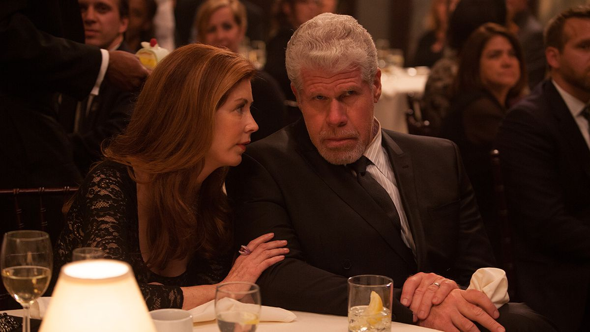 Dana Delany and Ron Perlman in Hand of God.