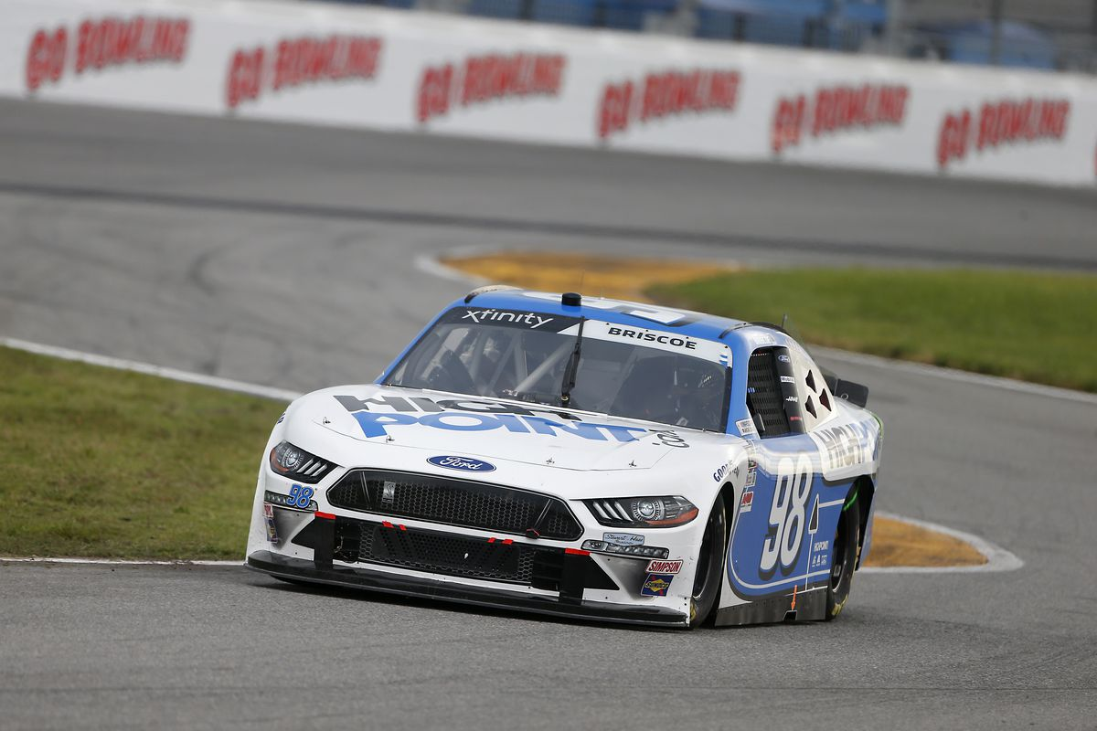 Chase Briscoe, driver of the #98 Highpoint.com Ford, drives during the NASCAR Xfinity Series UNOH 188 at Daytona International Speedway on August 15, 2020 in Daytona Beach, Florida.