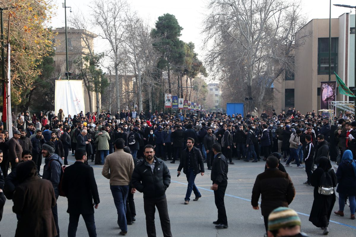 Protesters fill a street during an anti-government demonstration in Tehran, Iran.
