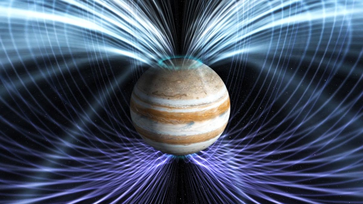 An artist's rendering of Jupiter's magnetosphere.