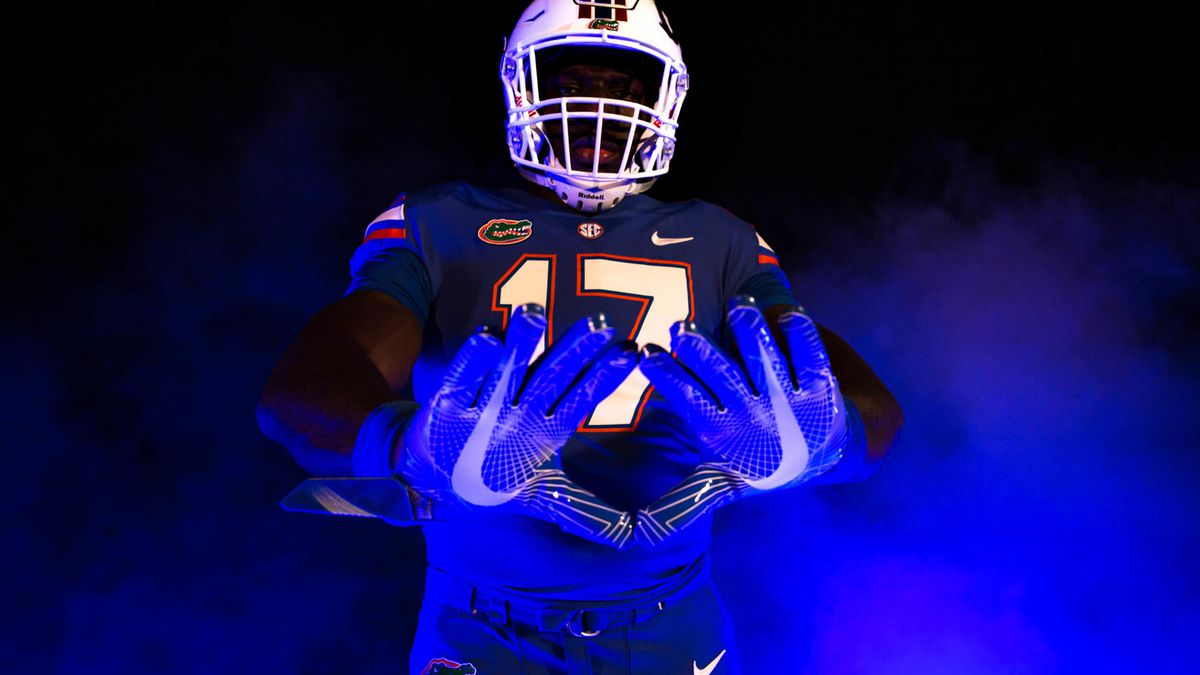 low priced d8fa1 c9ddd Michigan/Florida both wearing colored jerseys, as game ...