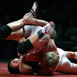 Female wrestler Candace Workman of Uintah High School is rolled over by Chasen Tolbert of Delta High in the 3A 103 lbs. championship match at the Utah High School Athletics Association's 1A, 2A, and 3A State Wrestling Championships held at the McKay Events Center in Orem, Utah. Tolbert would go on to take the state title. February 15, 2008. Mike Terry, Deseret Morning News.