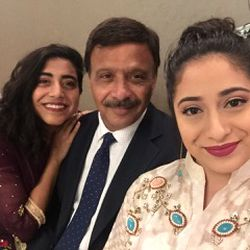 Dania with her father and  sister.