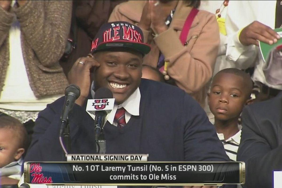 Tunsil puts on the Ole Miss cap