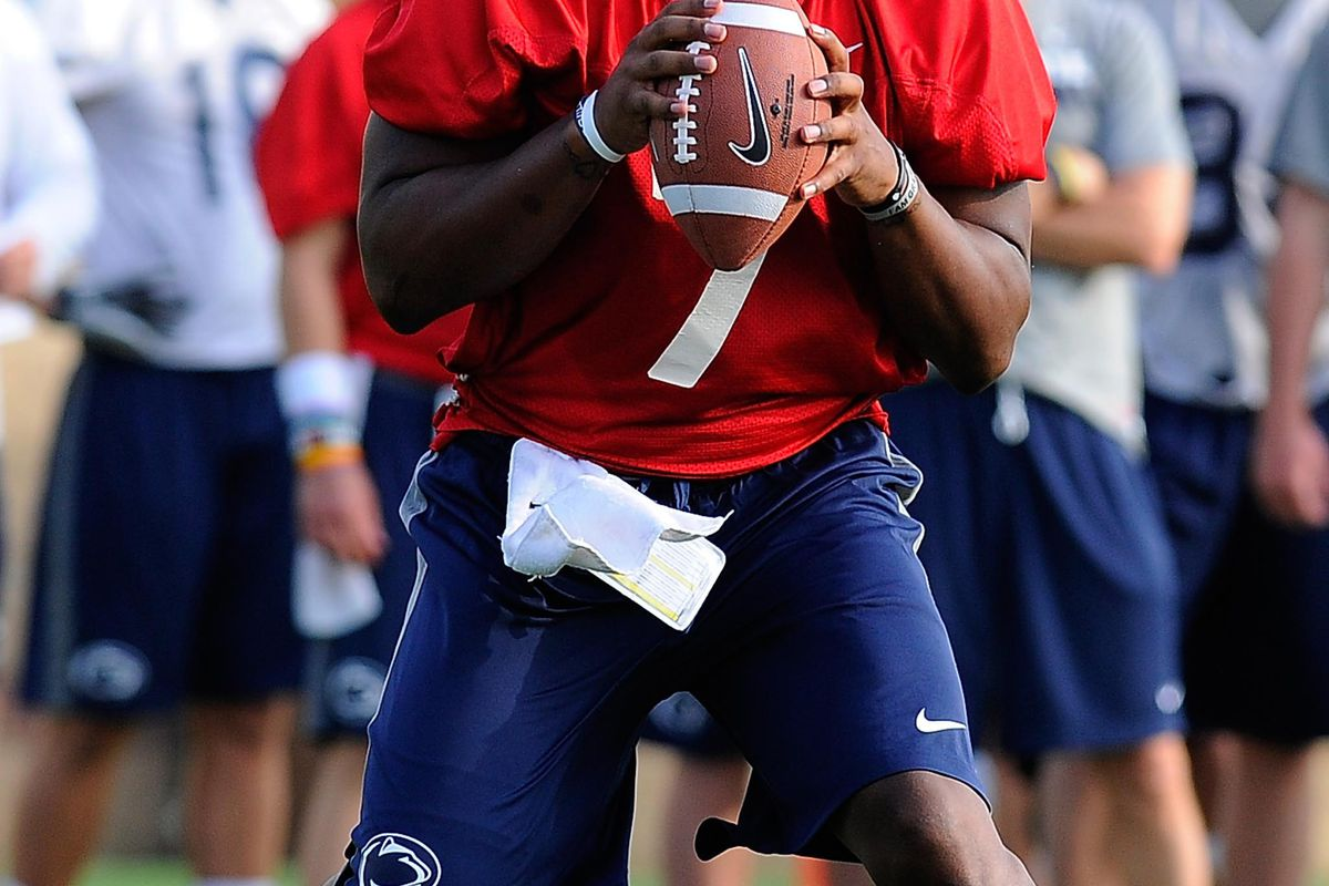 Aug 6, 2012; University Park, PA, USA; Penn State Nittany Lions quarterback Paul Jones (7) drops back to pass during practice at the Lasch Football Building practice fields. Mandatory Credit: Rich Barnes-US PRESSWIRE