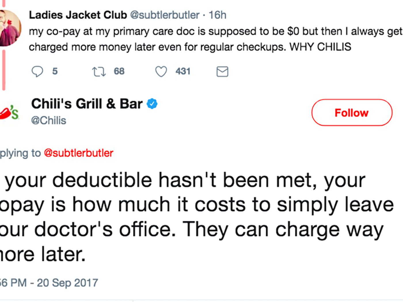 Chili\'s Politely Explains Health Care Copays to Random Dude on ...