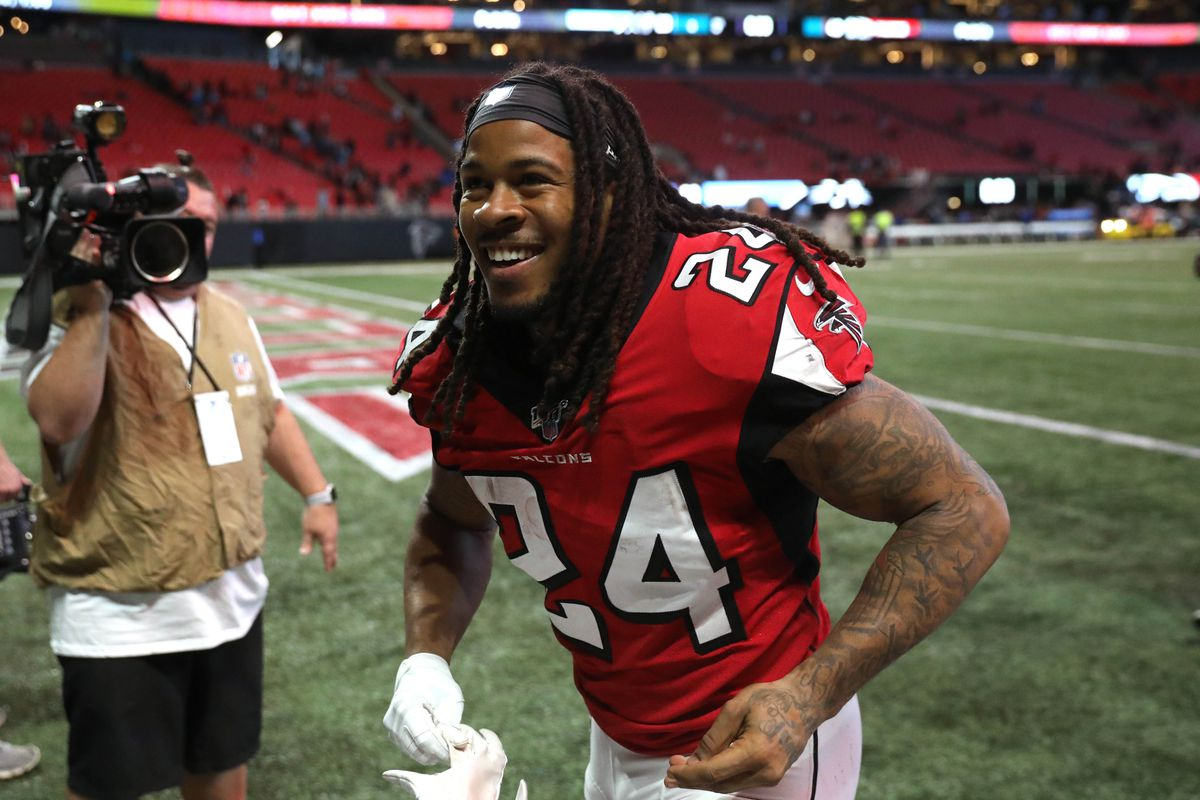 Atlanta Falcons running back Devonta Freeman reacts after their win against the Carolina Panthers at Mercedes-Benz Stadium.