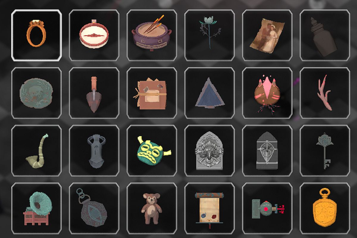 A grid showing all the different Shiny Things in Death's Door, including things like arrowheads, stuffed bears, and other ancient items.