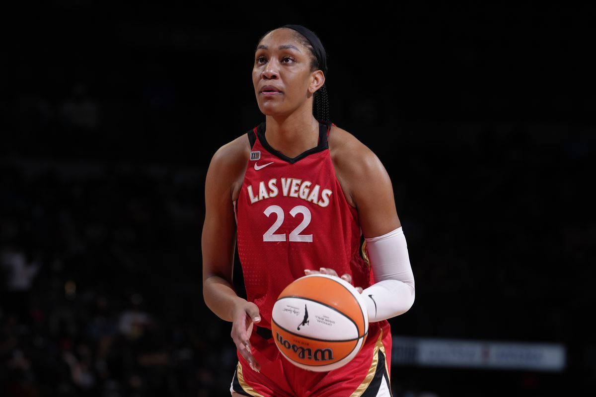A'ja Wilson #22 of the Las Vegas Aces shoots the ball against the Chicago Sky on September 2, 2021 at Michelob ULTRA Arena in Las Vegas, Nevada.