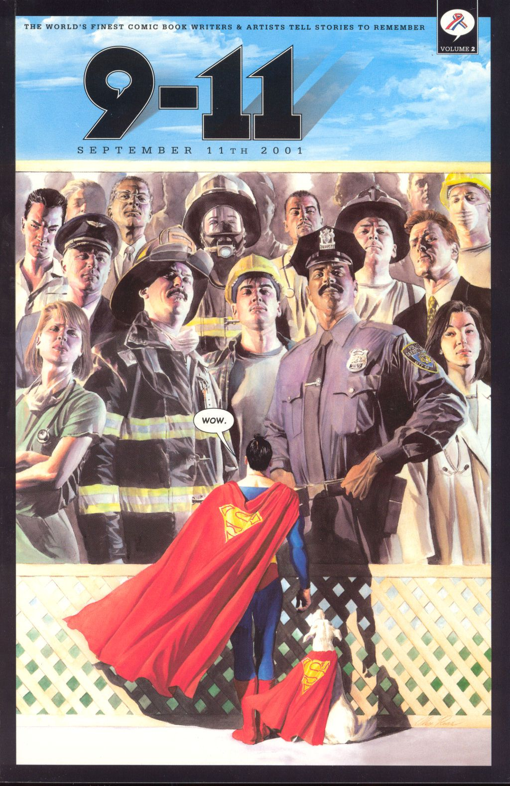 """Superman looks up at a billboard depicting first responders and healthcare workers, and says """"Wow,"""" on the cover of 9-11: The World's Finest Comic Book Writers & Artists, DC Comics (2001)."""