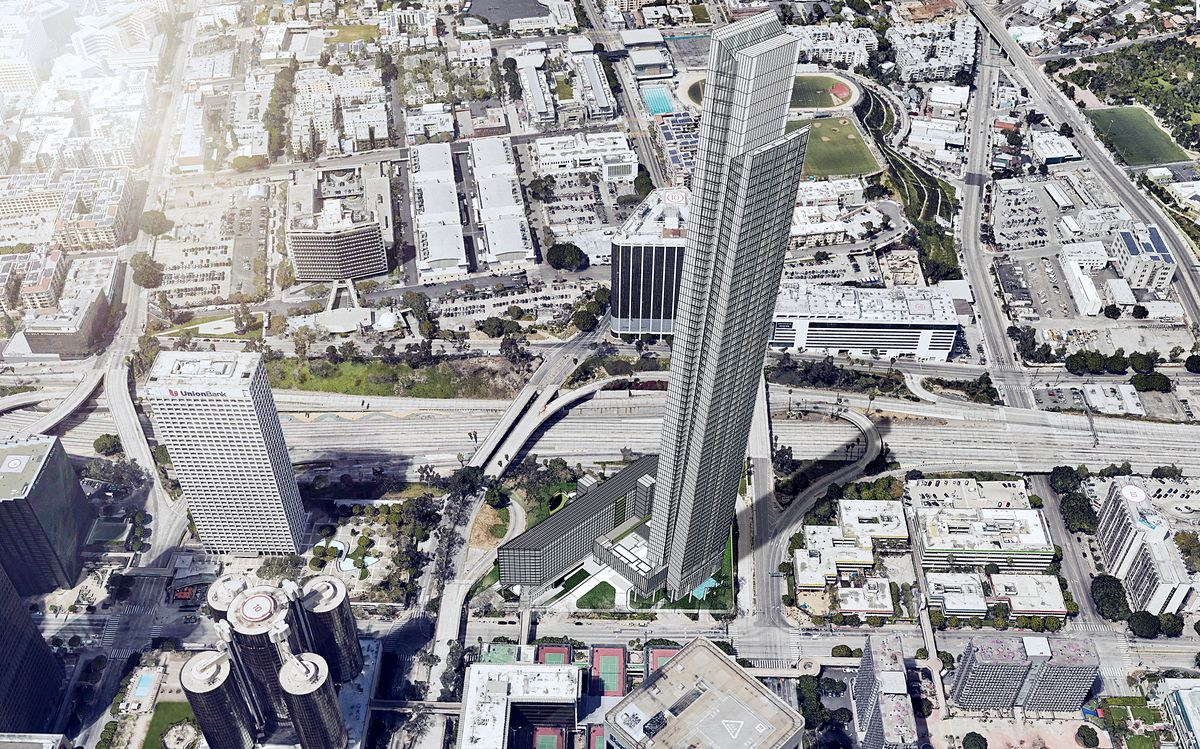 A rendering of a 77-story building towering over the 110 Freeway.