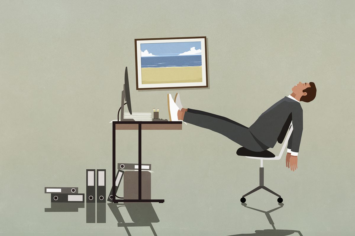 An illustration of a person sitting at a computer desk, leaning back in their chair with their feet on the desk as though exhausted.
