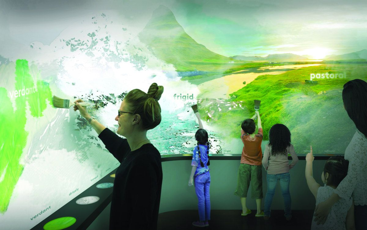 Rendering of an interactive wall map, which people are painting.
