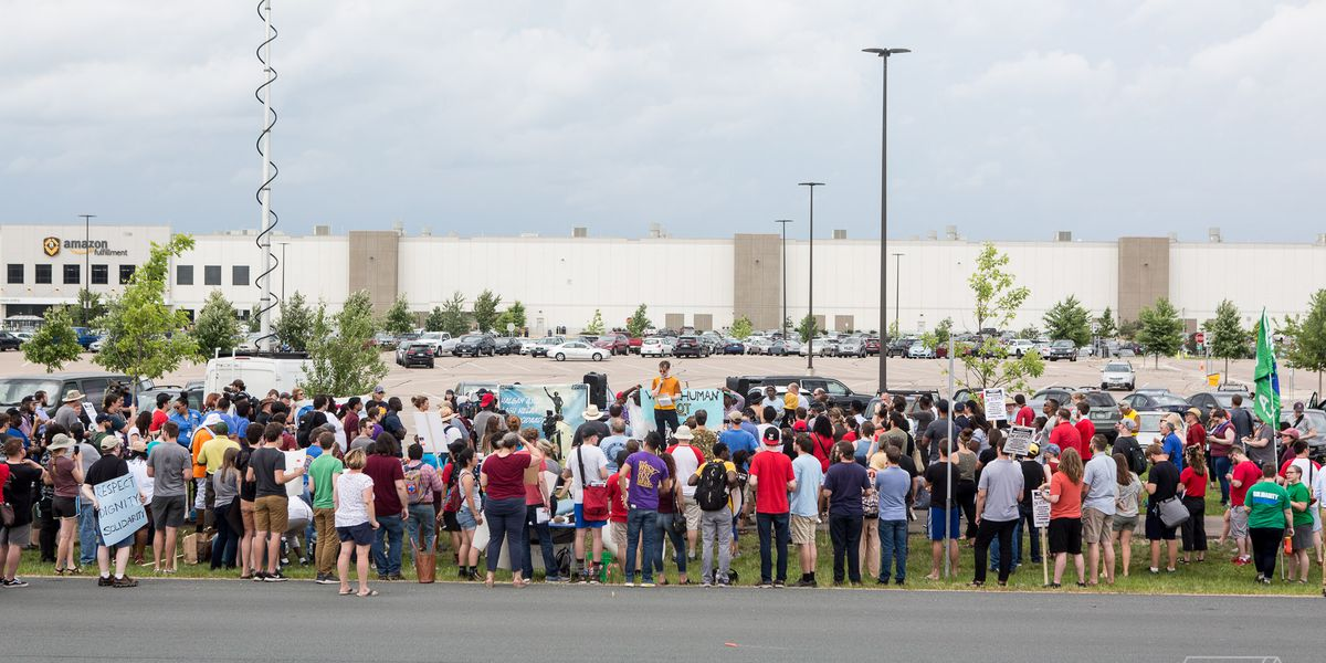 Amazon warehouse workers strike on Prime Day to protest