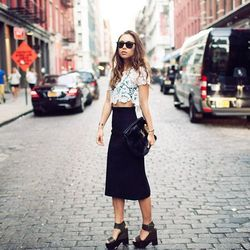 """Rumi of <a href=""""http://www.fashiontoast.com""""target=""""_blank"""">Fashion Toast</a> is wearing a Burberry skirt. (<a href=""""http://instagram.com/p/d8uZmGg7rQ/""""target=""""_blank"""">@rumineely</a>)"""