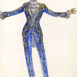 Rococo suit and sketch: Liberace found inspiration in the elegance and extravagance of the European courts, and this ensemble celebrates rococo, a mid-eighteenth century style tied to King Louis XV of France. The swallow-tailed cutaway coat features cryst