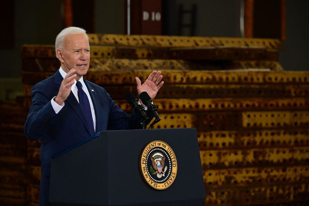 President Joe Biden speaks in Pittsburgh, Pennsylvania, on March 31, 2021, to unveil his infrastructure proposal.