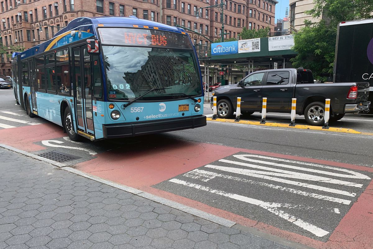 An MTA express bus drives along Columbus Avenue in the Upper West Side, June 4, 2020.