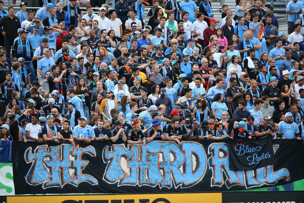 NYCFC Supporters Section before the game at Hofstra