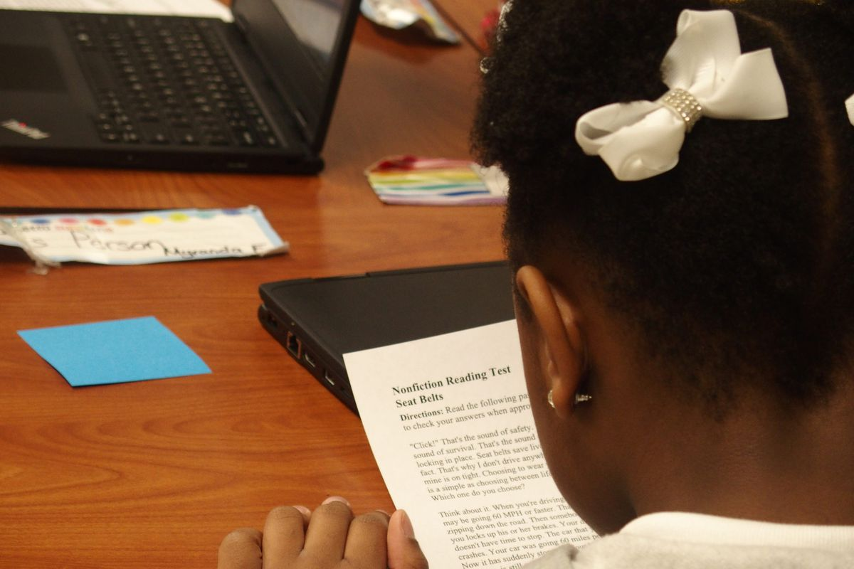 A student at Delano Optional School in Memphis.