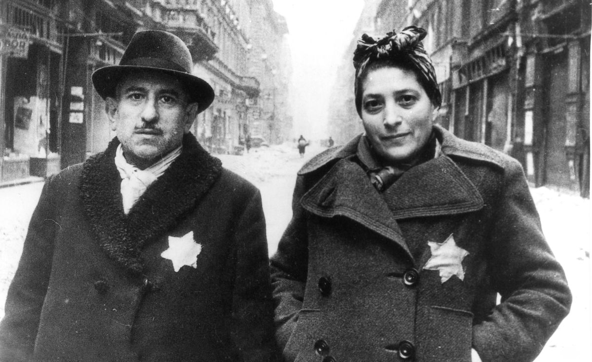Jewish residents in Budapest, Hungary in 1945.