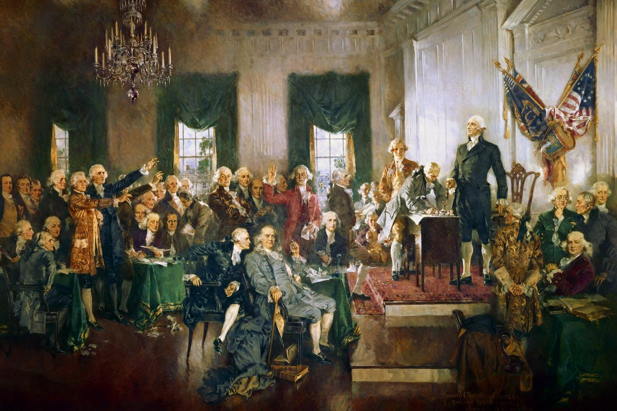 The country being formed in this painting wasn't a democracy for a very long time.