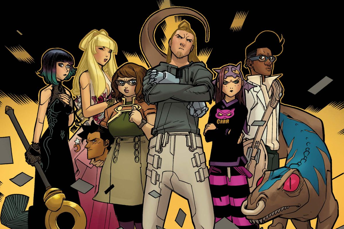 LtR: Nico, Karolina, Victor, Gert, Chase, Molly, Alex, and Old Lace stand united in Runaways #13, Marvel Comics (2018).